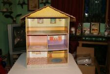 Vintage 5 Room Unknown Maker CARDBOARD DOLL PLAY HOUSE