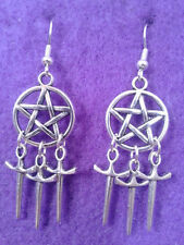 Pentagram and Athame Earrings * Dream Catcher Pagan Sword Wicca Dagger Star