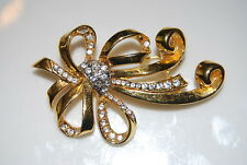 Bow With Pave Clear Rhinestone Center Vintage Couture Pin Gold Toned Metal