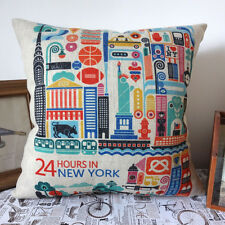 45cm X 45cm Retro 24 hours in New York Colourful Building Linen Cushion Cover