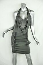 CHRISTIAN DIOR BOUTIQUE Grey Draped-Bust Lace-Up Jersey+SILK Bodycon Dress 6/38