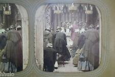 STA459 Messe Eglise religion curé STEREO photo albumen transparente colorisé