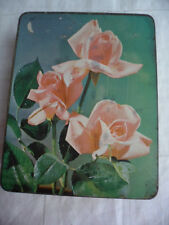 ANTIQUE VINTAGE OLD GREEN TIN PASCALL SWEETS PINK ROSES