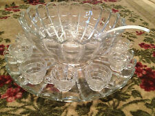 Vintage Antique Cambridge Glass Cascade Pattern Punch Bowl Set 12 Cups & Tray