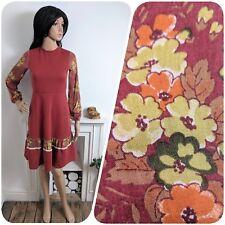 Vintage 70s Rust Floral Dress Gypsy Tie Back Pairie Boho 6 8 34 36
