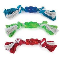 "Rope N' Rubber Hard Bones Dog Toy 10"" Long Durable Tough Tugging Chew Dogs Toys"