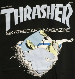 NEW THRASHER MAGAZINE POOL DECK NIKE JANUARY 1981 NOS SKATEBOARD SHIRT + STICKER