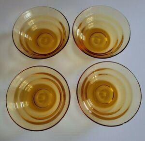 Vintage Art Deco Yellow Amber Dessert Bowl Set of 4