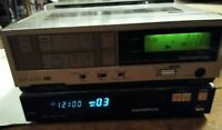 Vintage Olympus VC-106 VHS Portable Video Cassette Recorder and VR 208 base,Read