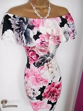 Black Pink Floral Bardot Wiggle Cocktail Party Dress Size 8 BNWT