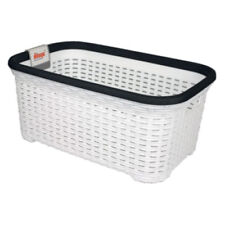 WHITE strong RATTAN Wicker style Rectangle Laundry Basket Plastic like Curver
