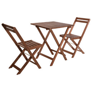 3 Pcs Outside Garden Patio Wooden Furniture Foldable Table & Chairs Bistro Set