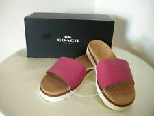 Authentic Coach Spruce Pebble Grain Leather Pink Sandals Size 9.5
