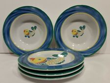 5 Florida Marketplace FISH TAILS Fun Blue Beach Theme 2 Soup Cereal Bowl 3 Plate