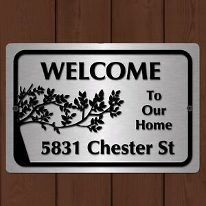 "Custom Home Address Plaque Aluminum Metal 12"" x 8"" House Number Sign"