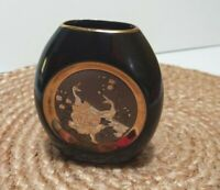 Vintage The Art of Chokin 24k Gold Edged Vase Japanese Peacock