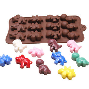 Dinosaurs Silicone Mould Chocolate Fondant Jelly Ice Cube Baking 12 Grids Mold