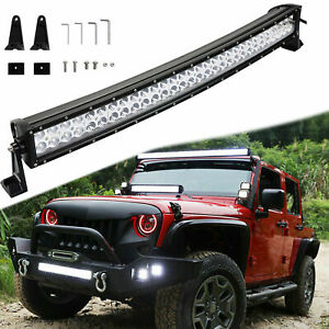 """32"""" 180W 60-LED 6000K White Curved 60-LED Off-Road Bar Wire Work Light Lamp"""