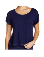 UGG Sleepwear Women's Ella Short Sleeve Soft Knot Top Scoop Neck Blue Medium