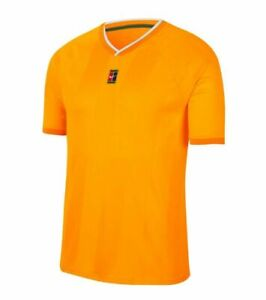Men's Nike Court Breathe Slam Crew Tennis Shirt Sundial Yellow CK9799 717 $85