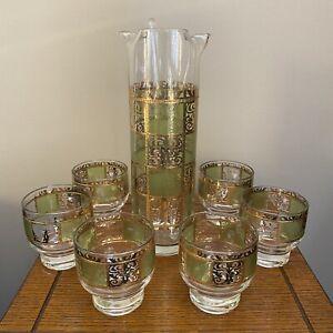 Vintage MCM Culver Prado Cocktail Set Gold Green 6 Lowball Glasses With Pitcher