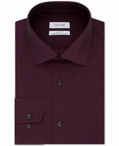 Calvin Klein Mens Dress Shirt Purple Size 15 1/2 Slim Fit Performance $75 #185
