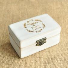 Personalized Wedding box Retro White Rustic ring box Engagement Ring Bearer Box