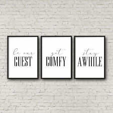 Set of 3 Wall Art Be Our Guest, Get Comfy, Stay Awhile,Guest Room Decor Art