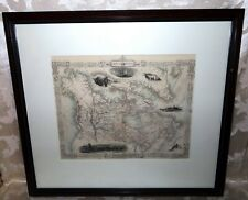 British America Framed 1851 John Tallis Lithograph of Canada & Greenland