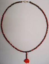 "Tohono O'odham Indian Orange Magnesite Bear 20"" choker & Pink squares by Dave H."