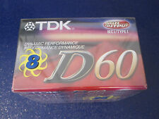 TDK D-60 Blank Cassettes 8-Pack NIP