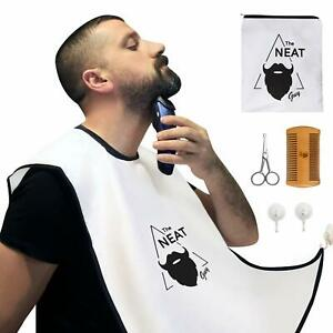 The Neat Guy 5-Pc Beard Catcher Kit Beard Apron Suction Cups Comb Scissor & Bag