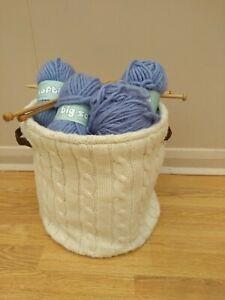 Bundle 250g Sirdar Big Softie blue yarn, 2 pairs needles, and  knitting basket