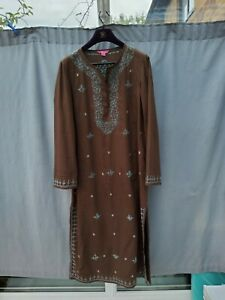 Monsoon Brown Blue Embroidered Cotton Long Kaftan Dress UK 14