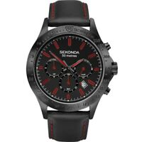 Sekonda Mens Black & Red Chronograph Sports Watch Leather Strap 1652 RRP £89.99