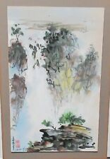 P. WONG CHINESE RIVER MOUNTAIN BOATS WATERCOLOR PAINTING