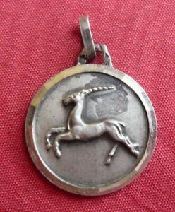 pendentif, médaille en argent massif, signe du zodiaque, capricorne neuve 4,1gr