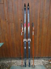 """New listing Great Ready to Use Cross Country 75"""" Splitkein 195 cm Snow Skis + Poles"""
