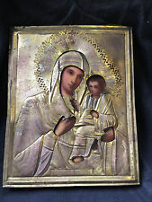 Antique Hand Painted Icon Virgin of Tichvin 19 th. century