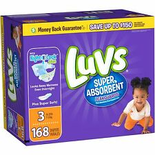 Luvs Super Absorbent Leakguards Diapers, Size 3, 168 Count (FREE 2 Day Shipping)