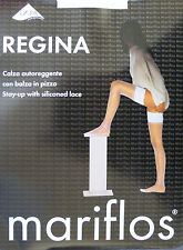 Mariflos Large Size Lace Top Hold Ups 15 Denier Bridal Stockings in White