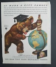 1942 Schlitz beer their graduation cap bottle world globe vintage ad