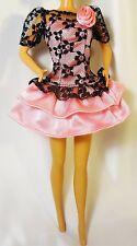 90s Pretty Fashion Dress Clothes for Barbie Doll Pink with Black Lace Barbie tag