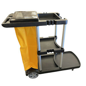 JANITORIAL CLEANING TROLLEY with LID school hotel office housekeeping cleaner
