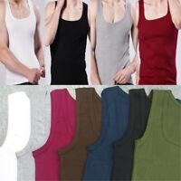 Plain Cotton Muscle Cami Tank Vest Men Sleeveless T-Shirt Tee Fashion Cool Tops