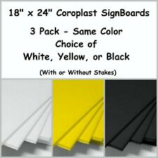 """Yard Sign Boards Blank 18"""" x 24"""" 3 Pack-Choice of Colors-Free Shipping"""
