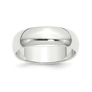 Platinum Unisex Featherweight Standard Fit 8mm Half Round Wedding Band Sz 4 - 12