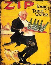 "TIN SIGN ""Zip Tonic Water "" Cola Art Deco Garage Wall Decor"