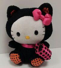 "TY Beanie Babies Hello Kitty Sanrio Halloween 6"" Stuffed Plush Toy Black Orange"