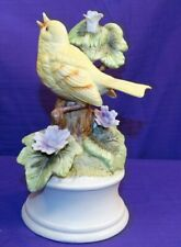 Vintage Royal Crown Music Box Bisque Yellow Bird Singing Purple Flower Works